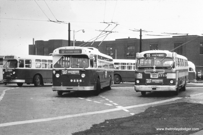CTA 9536 and 1713 at California and Roscoe in 1957. (William Shapotkin Collection)