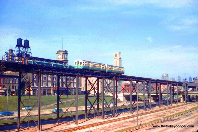 "On April 4, 1959, a CTA Douglas Park train is on the ramp connecting the old ""L"" structure with the new Congress Expressway median line (and the Dearborn-Milwaukee Subway)."