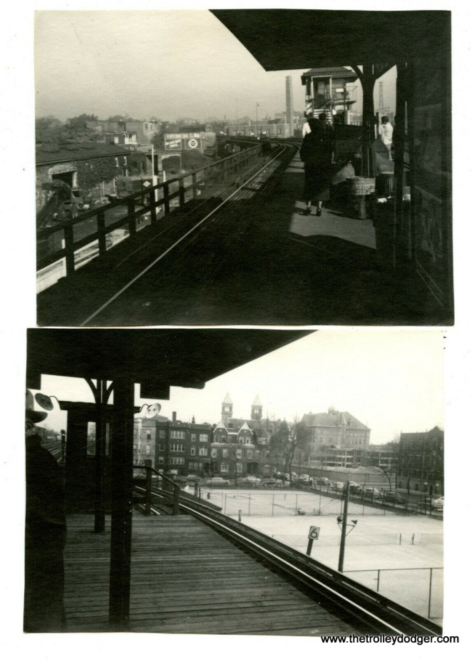 "I am not sure where these two views of a CTA ""L"" station were taken. Answer: two different places. The top picture is 42nd Place on the Kenwood branch of the ""L"", looking west. The lower picture was taken at Fullerton on the north-south main line."