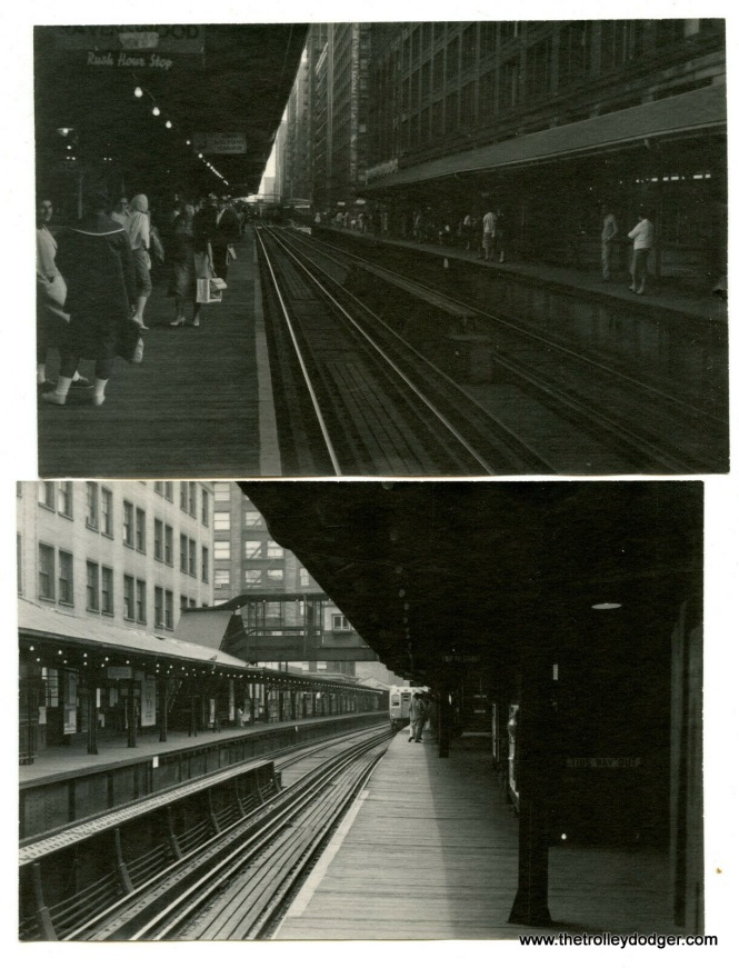 "Two downtown shots on the Loop ""L"", probably 1950s."