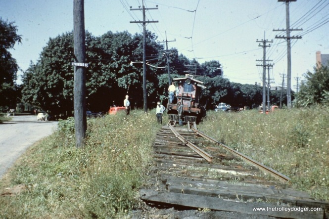 "After what was supposed to be a ""temporary"" abandonment of the Lehigh Valley Transit's Liberty Bell route between Allentown and Norristown (PA) in September 1951, the railroad wasted no time in ripping up rails, so as to make it permanent. They were out there the very next morning."