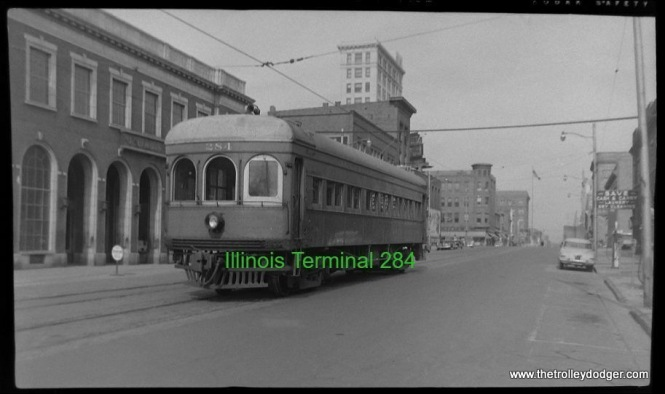 Illinois Terminal interurban car 284 at an unknown location.