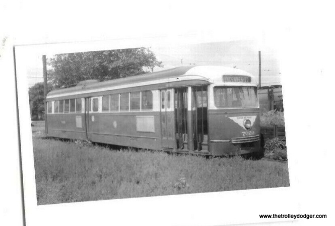 A CTA prewar PCC car at 77th and Vincennes on August 10, 1956, just prior to scrapping. Note how the seller has given this picture an extreme tilt, just to level it out. These cars were last used on Western Avenue.