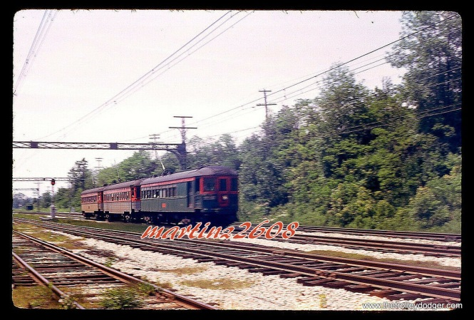 A three-car North Shore Line train on June 16, 1962.