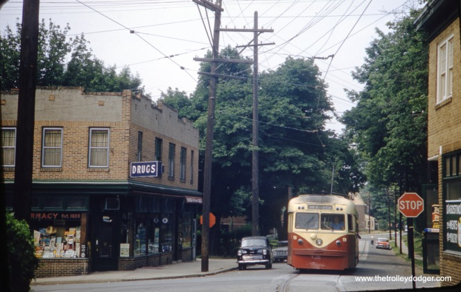 Philadelphia Suburban Transportation (aka Red Arrow) Brilliner #9 on the Ardmore line in July 1959. Buses replaced trolleys here in 1966.