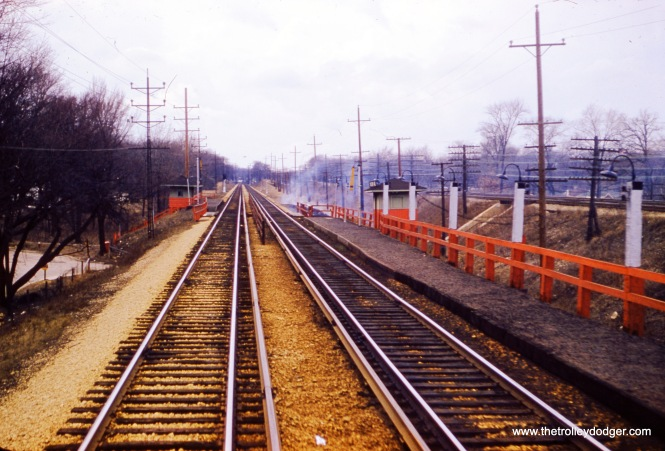 This picture shows the CA&E right of way east of Wheaton on March 14, 1957, less than four months before passenger service was abandoned.