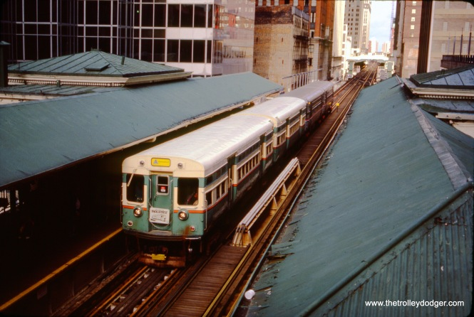 "CTA 6101-6102 heading up a four-car fantrip train in November 1985, for ""Trolleyfest."" After being stored at the Fox River Trolley Museum for many years, 6101-6102 are back on CTA property, and it is hoped they will someday run again. (Gregory Markey Photo)"