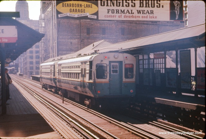 A two car Evanston Express train, including car 45, at State and Lake. Cars in the 1-50 series were delivered in 1960, so this photo cannot be any earlier than that. We are looking west. The date may be June 1961. (J. W. Vigrass Photo)