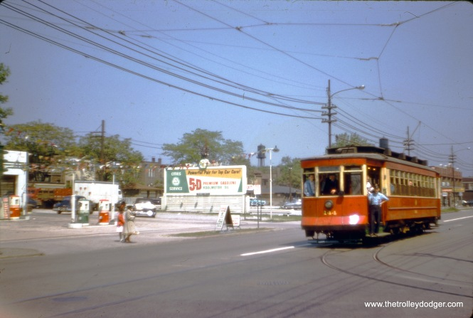 "Another photo from the May 25, 1958 CTA fantrip featuring red car 144. (J. W. Vigrass Photo) Our resident South Side expert M. E. adds, ""Methinks this is at 81st and Halsted, the south end of the Wentworth line. The only way to reverse direction was to make a wye -- to turn from westbound on 81st to northbound on Halsted, then to run backwards (southbound on Halsted) across 81st St., and finally to turn from facing north on Halsted onto eastbound 81st. I think thus because there is only one trolley wire crossing the intersection, and I see only one track. This would place car 144 north of 81st St., going backwards to the south side of 81st."""