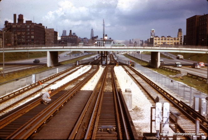 "The view from an eastbound Douglas-Milwaukee CTA ""L"" train, going down the ramp at Loomis Junction to run on the then-new Congress median line, in September 1958. (J. W. Vigrass Photo)"