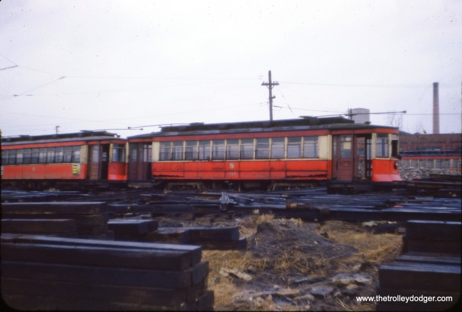 CTA red car 417 in February 1954. (J. W. Vigrass Photo)
