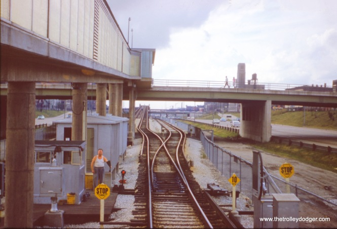 "The CTA's Loomis Junction in September 1958, looking west. Here is where Douglas Park trains went up a ramp to connect to the existing ""L"" structure, while Congress trains continued to the right. (J. W. Vigrass Photo)"
