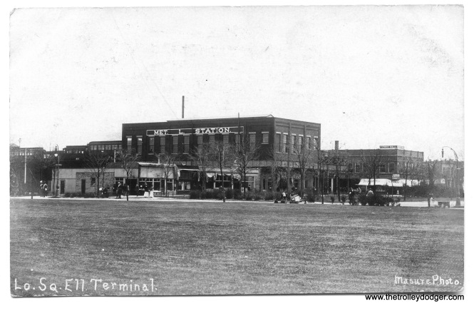 "The Logan Square Terminal of the Metropolitan ""L"", in a photo postcard postmarked 1908. The iconic Illinois Centennial Monument was not erected until ten years later."