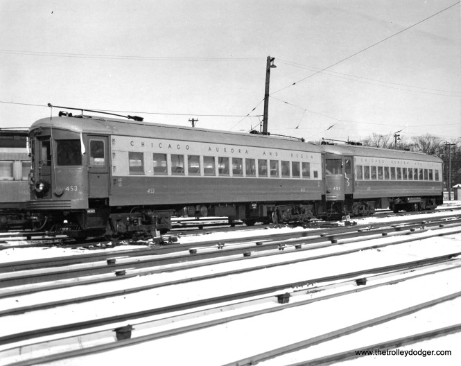 CA&E postwar cars 453 and 451, two of an order of ten, at the Wheaton Yards.