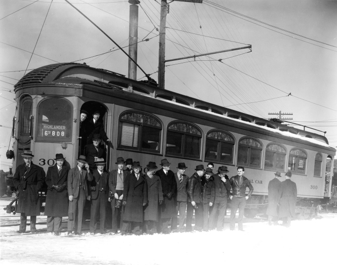 This photo was unfortunately partially light struck. This was not an uncommon occurrence when paper-backed roll film was used. Once again, this is North shore Line wooden car 300, some time during the 1939-42 period when it was used by Central Electric Railfans' Association as a club car, for excursions and meetings. From the looks of things, this is winter.