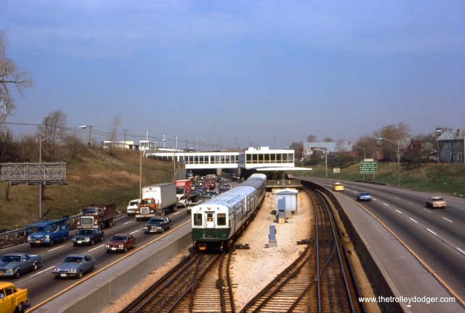 A train of CTA 6000s is at Jefferson Park on April 21, 1980. This was, at that time, the end of the line. A few years later, service was extended to O'Hare Airport. (Clark Frazier Photo)