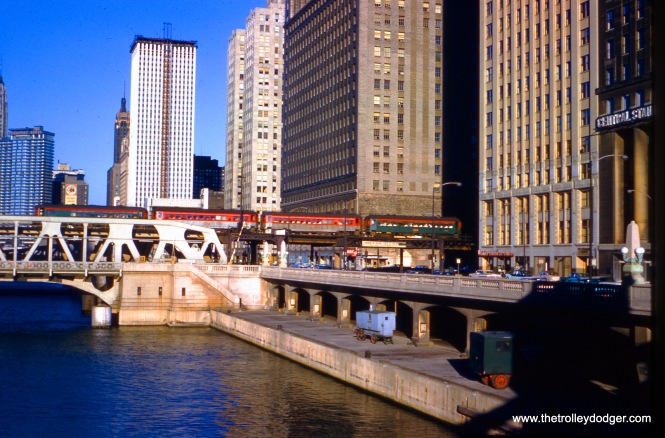 A North Shore Line train on the bridge over the Chicago River on Wells Street on July 2, 1961.