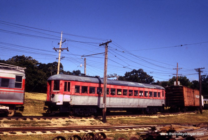 North Shore Line car 756 at the Fox River Trolley Museum on June 20, 1992.