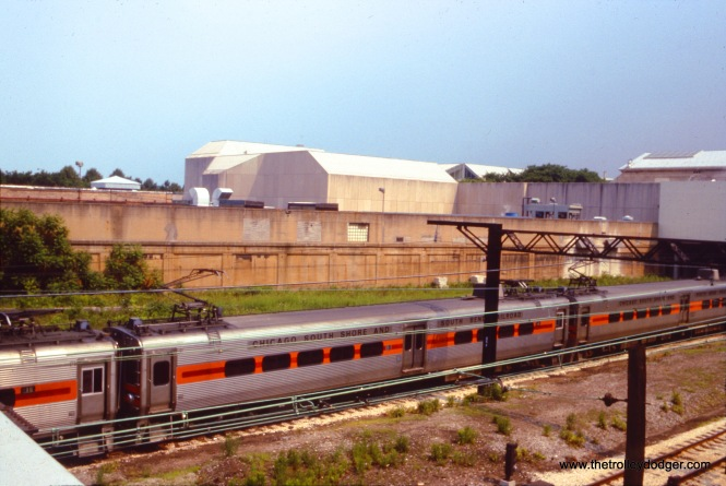 South Shore Line cars near the Art Institute on June 24, 1992.