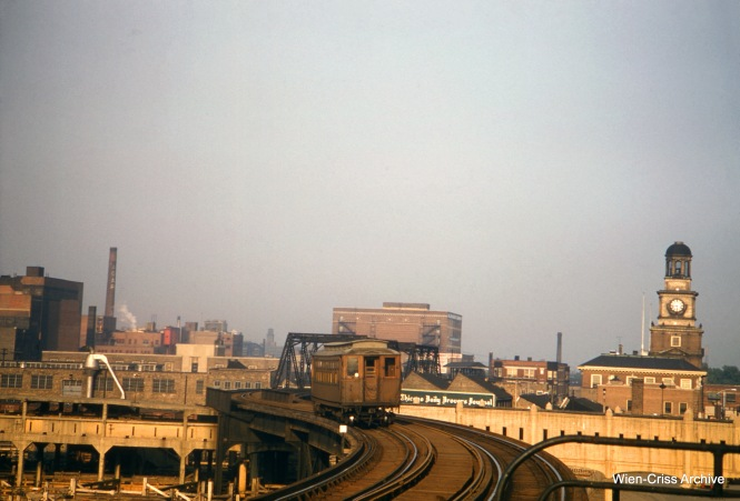 This picture of the CTA Stockyards line was taken in September 1957, shortly before the line was abandoned. There is little in this picture that still exists today, except for the shuttered Stock Yards National Bank Building, at 4146 S. Halsted Street. (Wien-Criss Archive)