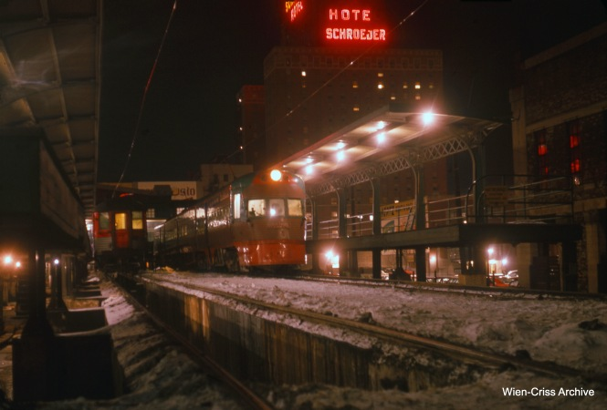 The North Shore Line's Milwaukee Terminal on a wintry night in January 1963. This is a remarkable photo for the time, as it surely involved a long exposure time of at least a few seconds, with the camera held perfectly still on a tripod. Film speeds for color slide film were very slow and those films were designed for use in bright sunlight. (Wien-Criss Archive)