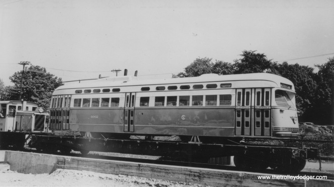 Pullman PCC 4062 being delivered in 1946. This was the first of 600 new postwar streetcars for Chicago.