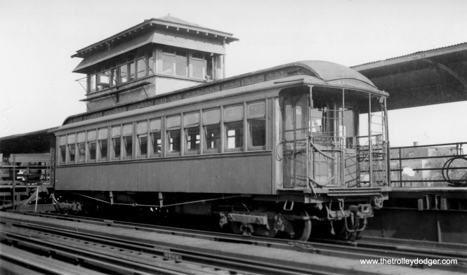 "CTA gate car #268 (or at least that is what is written on the picture) at Indiana Avenue, operating as a Kenwood shuttle. By the mid-1950s these cars were replaced by former Met ""L"" cars as they were taken off other lines."