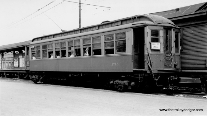 "Car 1715 is a Lake Street Local at Marion Street in Oak Park. In 1948, locals and expresses were replaced by the CTA's A/B ""skip stop"" service."