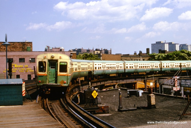 "This is the back end of a southbound CTA Jackson Park ""B"" train at Sheridan Road on July 7, 1966."