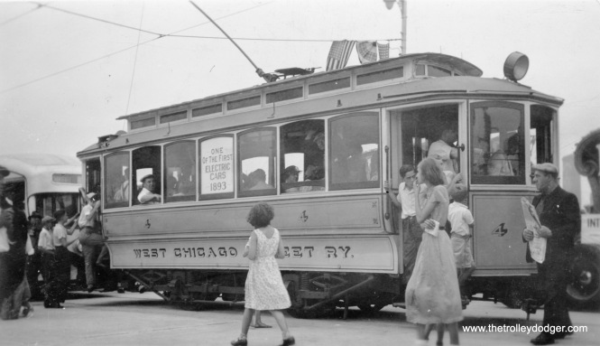 The Chicago Surface Lines kept some historic streetcars for use in parades and special events. Since the experimental pre-PCC 7001 is present here, I would say this picture most likely predates the arrival of PCCs in late 1936. It could be from a couple of events in 1936, when Ashland was extended across a new bridge, or when two segments of 87th Street were joined by a new connection.