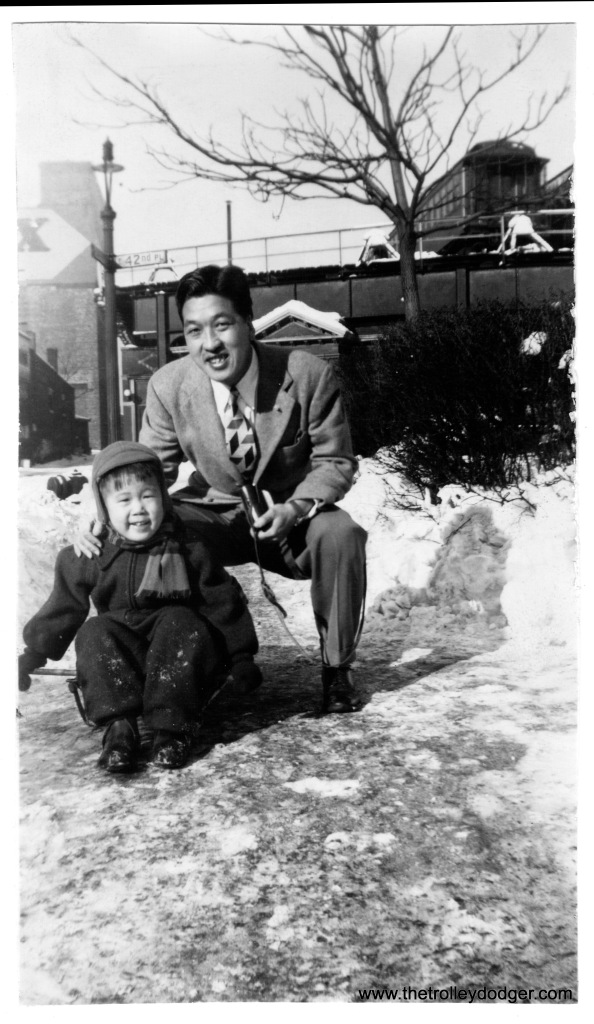 "Ross Harano as a toddler in 1945, with his uncle Susumu Okamoto, in front of the Kenwood ""L"" terminal at 42nd Place. (Courtesy of Ross Harano)"