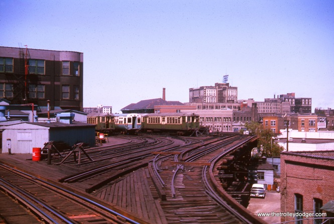 The old Wilson Avenue Upper Yard in August 1963. The shops building burned in 1996 and was removed.
