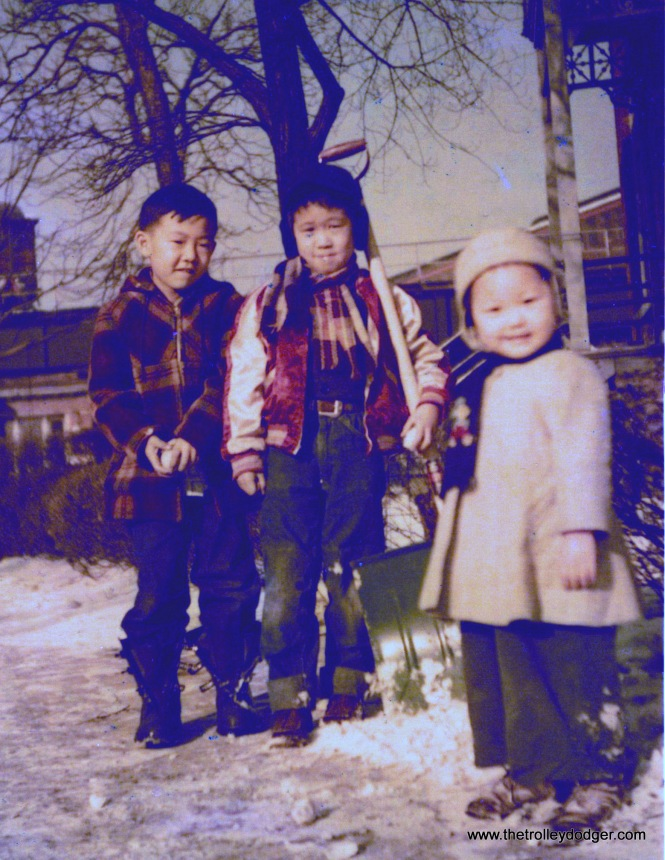 "(This and the next picture) Danny Yoshida, Ross Harano and his sister Cathy In March 1951. Ross writes, ""Danny is on the left. He lived on Lake Park and 38th and was a classmate at Oakenwald until he moved to 45th and Lake Park."" (Both courtesy of Ross Harano)"