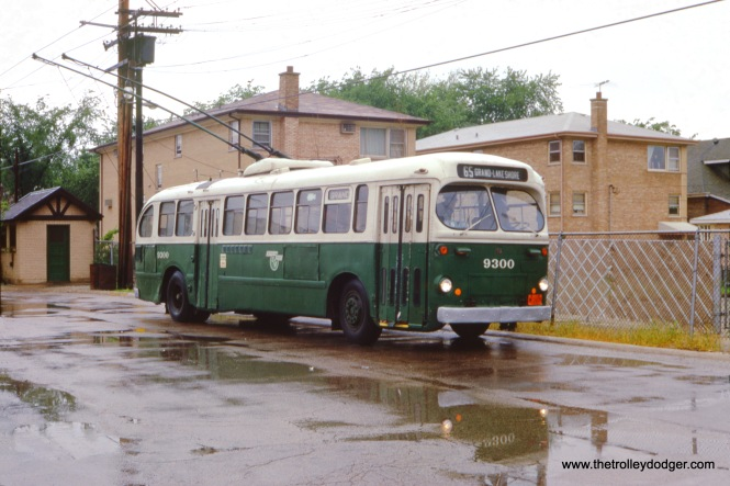 CTA trolley bus 9300 at Grand and Nordica (west terminal of Route 65) in July 1969.