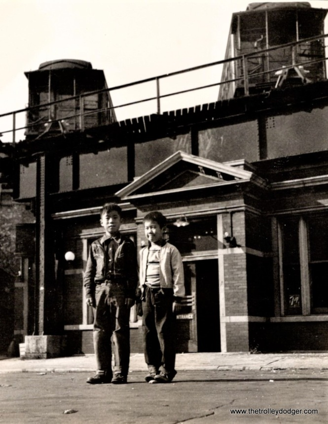 "Ross Harano and a cousin, in front of the Kenwood ""L"" terminal at 42nd Place. (Courtesy of Ross Harano)"