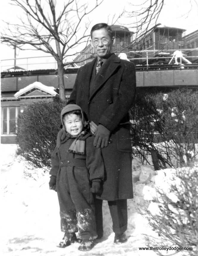 "Ross and his maternal grandfather Rihaci Mayewaki (1886-1969) in front of the Kenwood ""L"" terminal at 42nd Place. (Courtesy of Ross Harano)"
