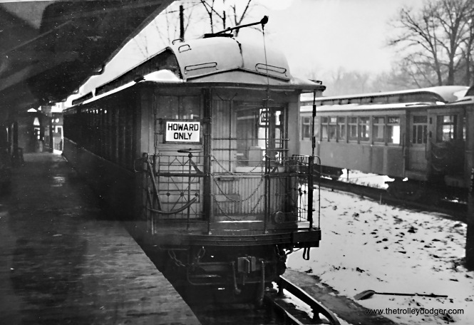 Mark Jesperson, who now lives in France, has written a Wilmette history article and is using one of our images. In turn, he sent us this nice picture, taken in the early 1950s at Linden Avenue, showing a gate car. Evanston became a shuttle to Howard starting in August 1949 (except for the Evanston Express).