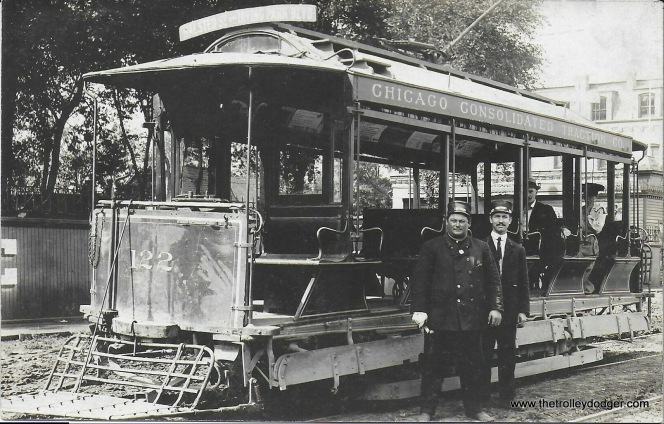 "Jeff Marinoff: ""It shows car #122 of the Chicago Consolidated Traction Company. The roof destination sign reads Halstead & Irving Park Blvd."" CCT eventually became part of Chicago Railways Company. The photo dates to between 1900 and 1910."
