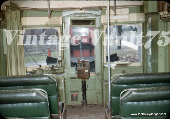 The interior of Lehigh Valley Transit car 704 in 1951, used on the Liberty Bell interurban line in Philadelphia. The motorman would most likely punch a couple things in on that cash register and it would issue a ticket.