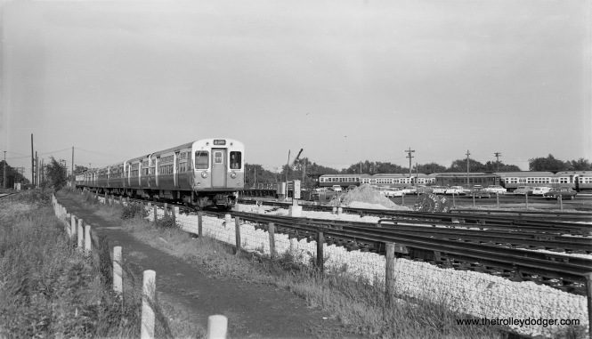 """CTA ""L"" cars view at DesPlaines Avenue yards, July 6, 1958."" (Robert Selle Photo)"