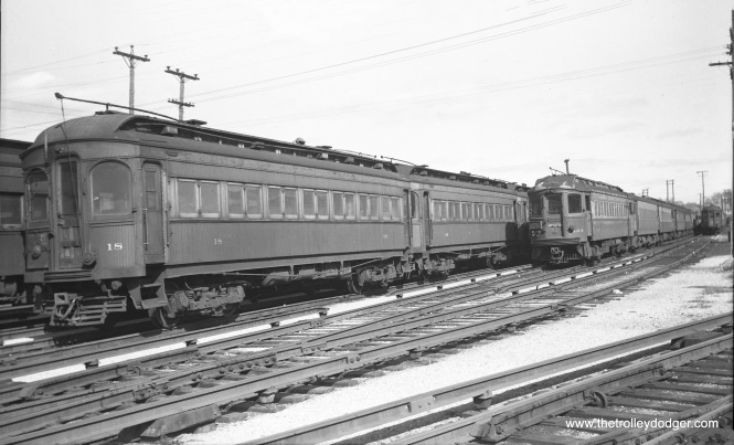 "CA&E 18 at Wheaton on August 15, 1952. Don's Rail Photos: ""18 was built by Niles Car in 1902. It was modernized in March 1941 and retired in 1955."""