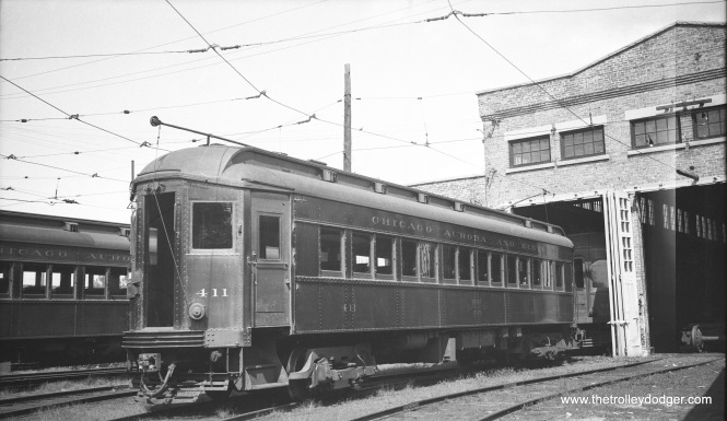 CA&E 411 at the Wheaton Shops. (Railway Negative Exchange)