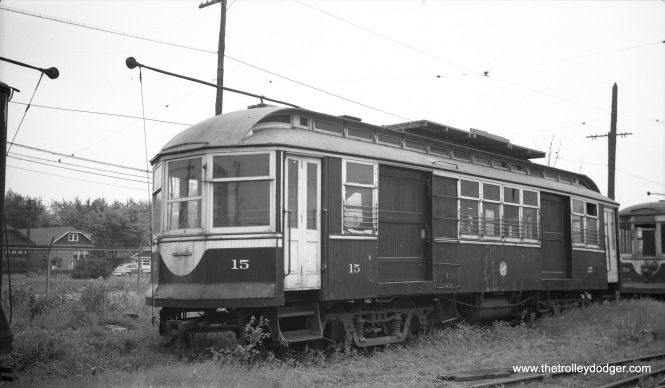 C&WT line car 15, probably at the car barn at Harlem and 22nd Street (Cermak), in North Riverside. On pictures, this was often mistakenly identified as Berwyn, but that's across Harlem Avenue just to the east.