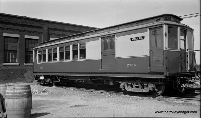 Chicago Rapid Transit Company medical car 2756 at Laramie Yards on September 19, 1934. It was built by Barney & Smith in 1895 and had been used as a funeral car. It could carry baggage as well as passengers.