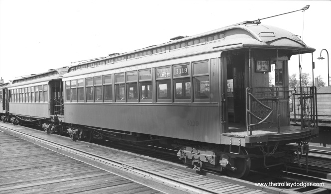 "CTA 3119, signed as a Lake Street local, is being stored on the third track at Hamlin in August 1948. By then, A/B ""skip stop"" service had been in effect for some months. It's possible this car was no longer being used on the line. Don's Rail Photos: ""3119 was built by St. Louis Car in 1902 as LSERR 119. In 1913 it was renumbered 3119 and became CRT 3119 in 1923."""