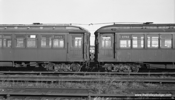 CTA 1782 and 1785 at Laramie Yard on November 24, 1957. As far as I know, scrapping took place at Skokie Shops. (Robert Selle Photo)