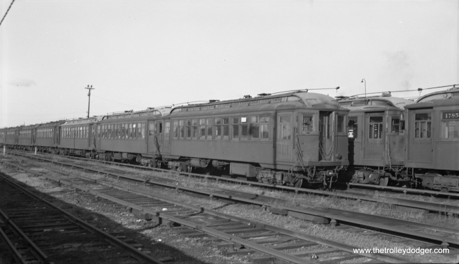 The CTA temporarily stored many wood cars at Laramie Yard after they were retired and awaiting scrapping. Here, we see 1752, among others, on November 24, 1957. I assume these cars were last used on Evanston and Ravenswood. (Robert Selle Photo)