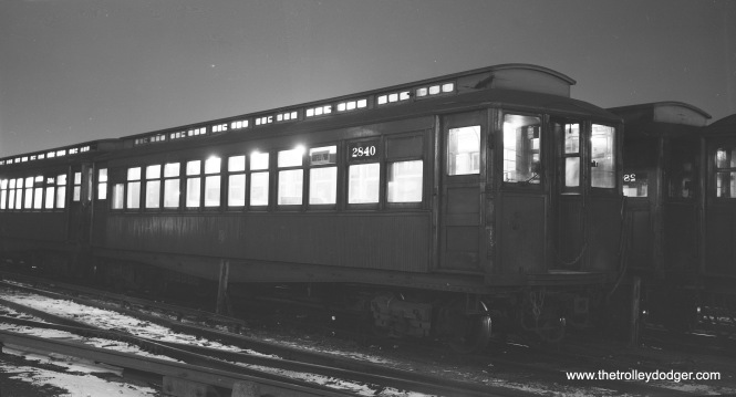 CTA 2840, a Met car, at Laramie Yard on January 4, 1957. (Robert Selle Photo)