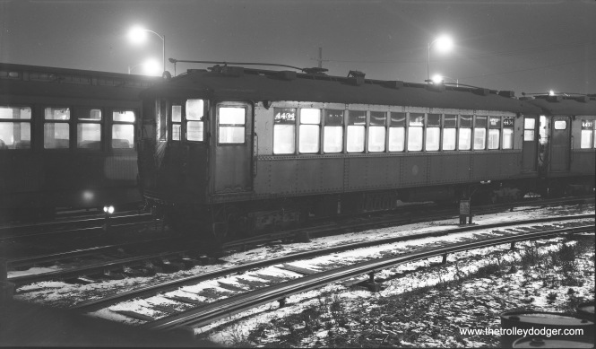 "A night shot of CTA 4434 at Laramie Avenue on the Garfield Park ""L"" on January 4,1957. (Robert Selle Photo)"