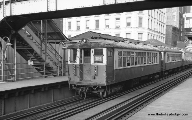 An Evanston Express train at Clark and Lake, possibly in the early 1970s.